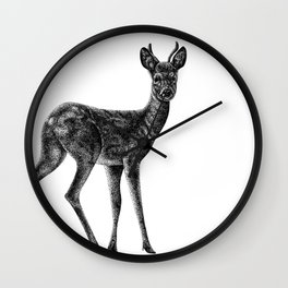 Roe deer stag  - animal ink illustration Wall Clock