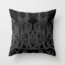 Octopus Black and Gray Throw Pillow