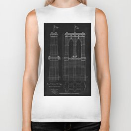 Brooklyn Bridge Blueprint Biker Tank