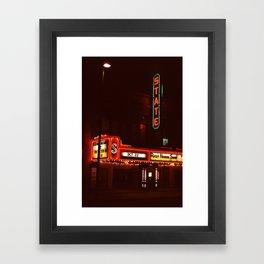 Night Lights State Street Theater, Ithaca NY Framed Art Print