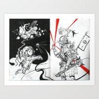 Space and Samurai Art Print