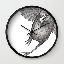 Crow Caws at You While Flying Away Wall Clock