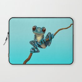 Cute Blue Tree Frog on a Branch Laptop Sleeve