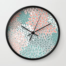 Floral Prints, Teal and Coral, Abstract Art Wall Clock
