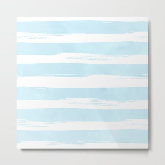 Pastel Blue Stripes Metal Print