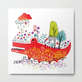 Croco-Nature Illustration Metal Print