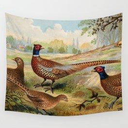 Vintage Pheasants Wall Tapestry