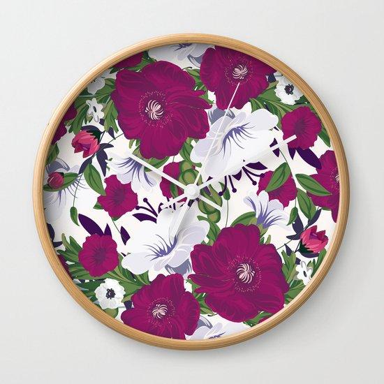 Purple Spring Flowers Wall Clock