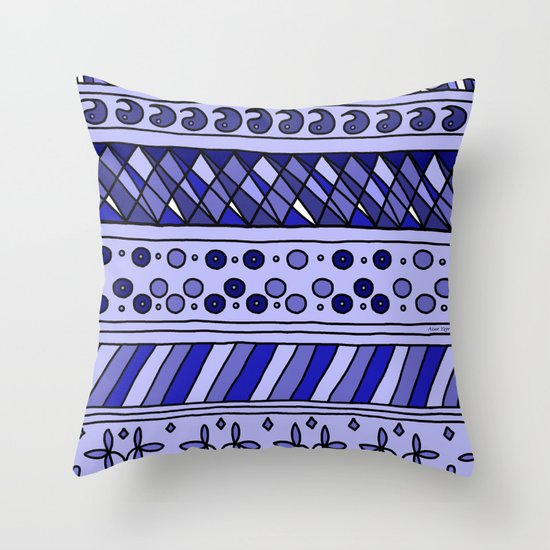 Yzor pattern 002 blue Throw Pillow