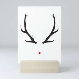 Minimalist Rudolph with red nose Mini Art Print
