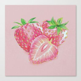 Color pencil Strawberry Canvas Print