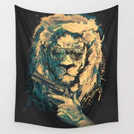 Lion is always Cool Wall Tapestry