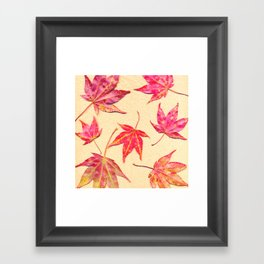 Japanese maple leaves - coral red on pale yellow Framed Art Print