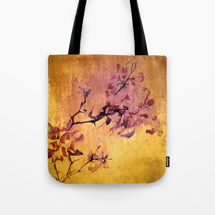 japanese crab apple flowers on golden tones Tote Bag
