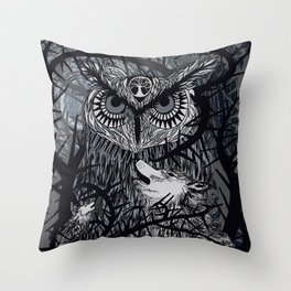 Howling at the Moon Throw Pillow