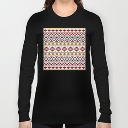 Aztec Essence Ptn III Red Blue Gold Cream Long Sleeve T-shirt