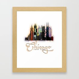 Colorful Skyline Chicago GPS coordinates Framed Art Print