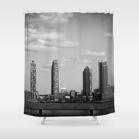 buildings Shower Curtains featuring NYC Buildings by Maria Goldaracena