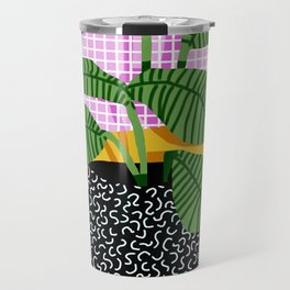 Decent - memphis retro neon throwback illustration pop art houseplant socal urban kids trendy art Travel Mug