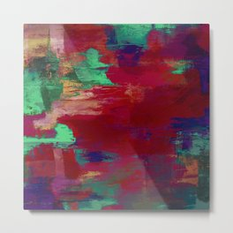 Crimson Overflow - Abstract, red, crimson, green, purple oil painting Metal Print