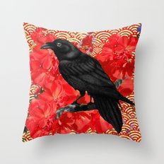 Red Abstract Floral Crow Asian Pattern Art Throw Pillow