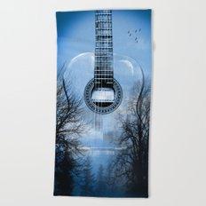 music blue  Beach Towel