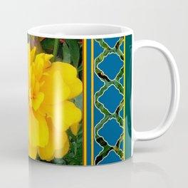 DECORATIVE TEAL & YELLOW  MARIGOLD FLORAL  PATTERN Coffee Mug