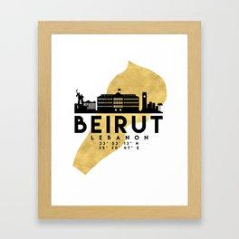 BEIRUT LEBANON SILHOUETTE SKYLINE MAP ART Framed Art Print