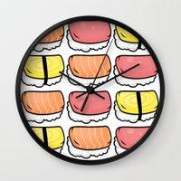 sushi Wall Clocks featuring Sushi by ocamixn