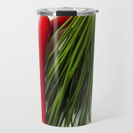 A bunch of fresh chives and vegetables over white Travel Mug