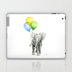 Elephant Watercolor Baby Animal with Balloons - Blue Yellow Green Laptop & iPad Skin