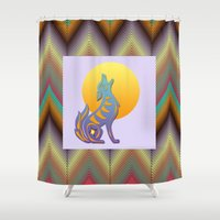 coyote Shower Curtains featuring Southwest Chevron and Coyote by naturessol