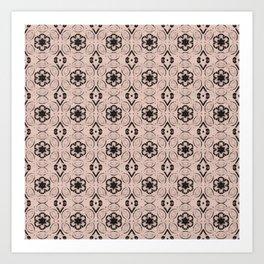 Pale Dogwood Floral Geometric Pattern Art Print