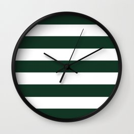 Phthalo green - solid color - white stripes pattern Wall Clock