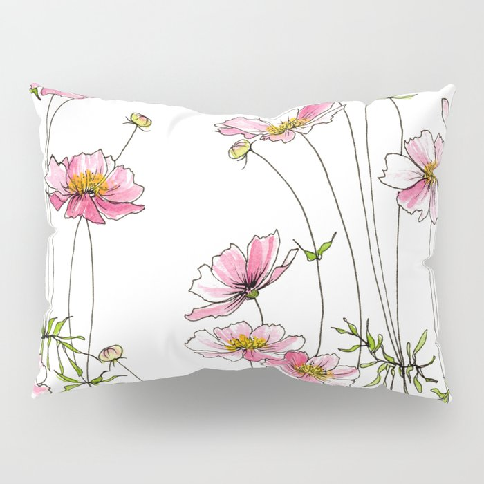 Pink Cosmos Flowers Pillow Sham
