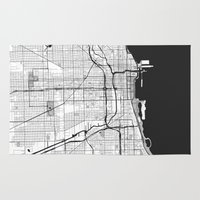 chicago map Area & Throw Rugs featuring Chicago Map Gray by City Art Posters