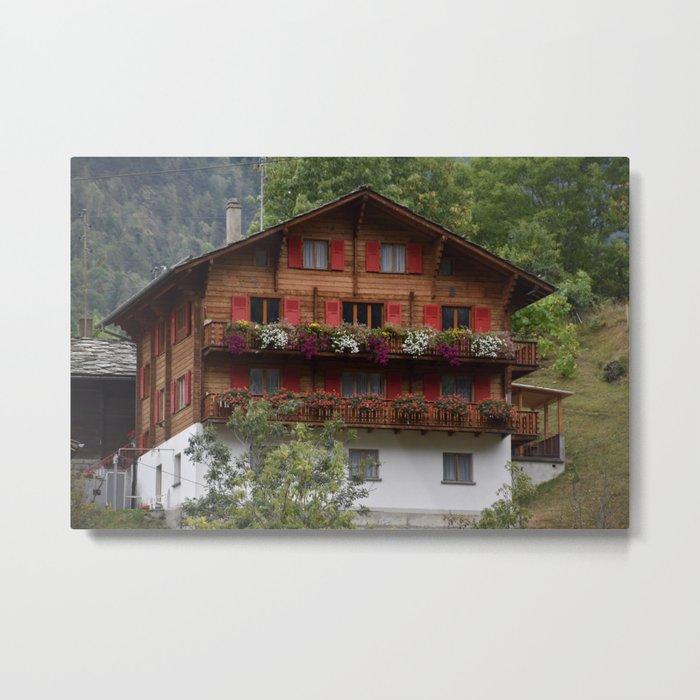 Swiss Alpine Chalet in Valais Switzerland Metal Print