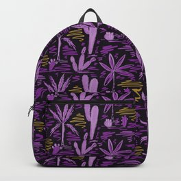 Purple and Gold Summer Vibes Oasis Print Backpack