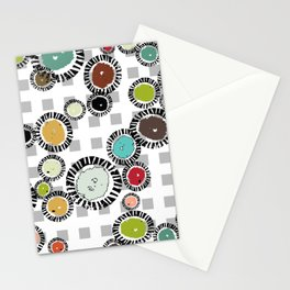 Wedge Circle on Gray Check Stationery Cards