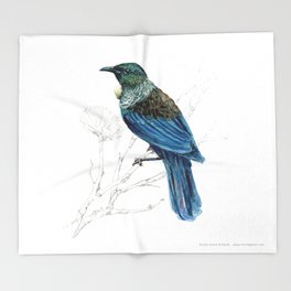 Tui, New Zealand native bird Throw Blanket