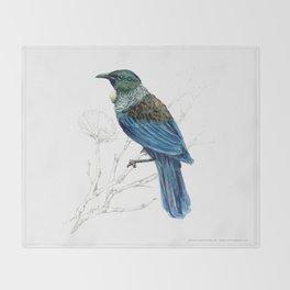 Tui, New Zealand native bird Throw Blanket