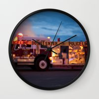 police Wall Clocks featuring Police Line by SShaw Photographic