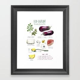 illustrated recipes: feta and eggplant meatballs Framed Art Print