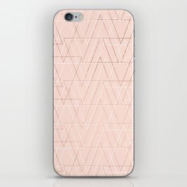 Modern white rose gold abstract geometric triangles on blush pink iPhone Skin