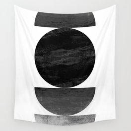Mid Century Modern Black Ombre Geometric Abstract Wall Tapestry