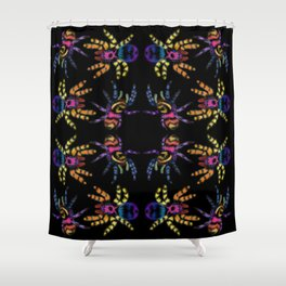 Rainbow jumping spiders Shower Curtain