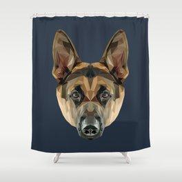 German Shepherd // Navy Shower Curtain