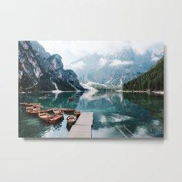 Perfect Scenic Nature View Lake Braies\ Mountain Foggy Sunrise Beautiful Backpacking Landscape Photo Metal Print