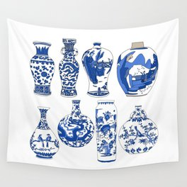 Blue Vases Wall Tapestry
