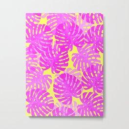 Tropical pink leaves in watercolor Metal Print